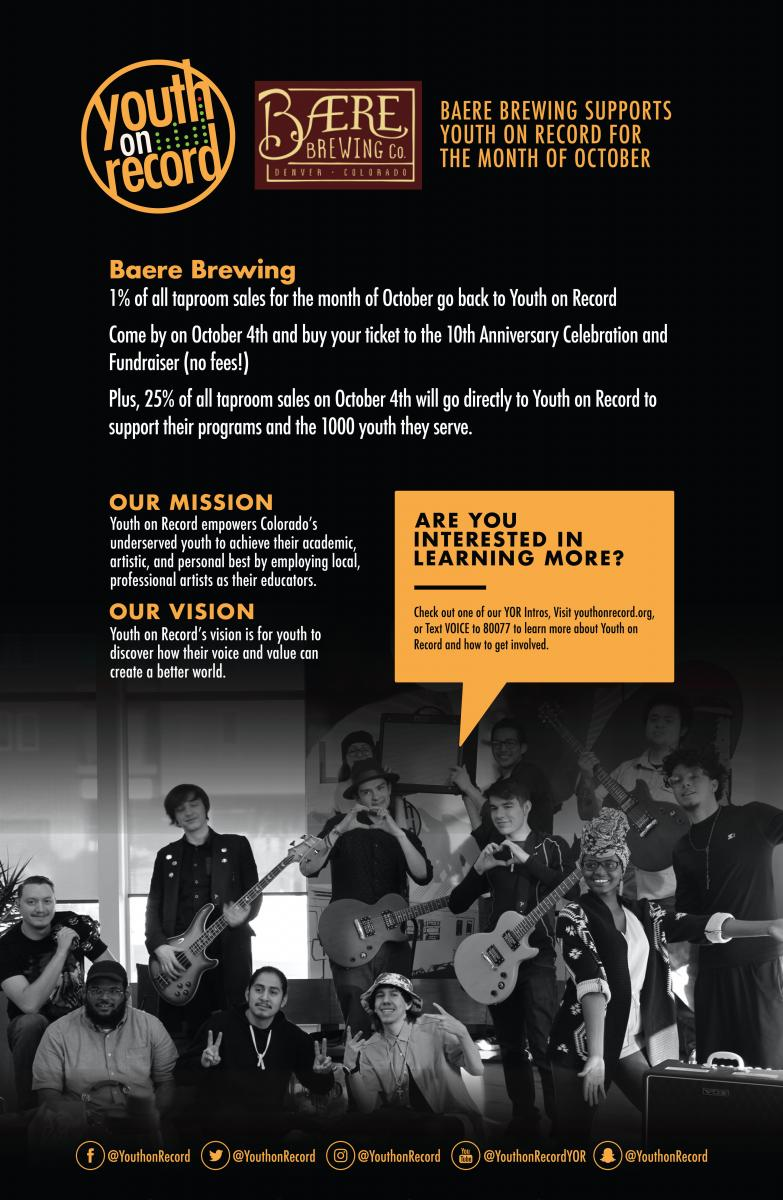Baere Brewing supports Youth on Record