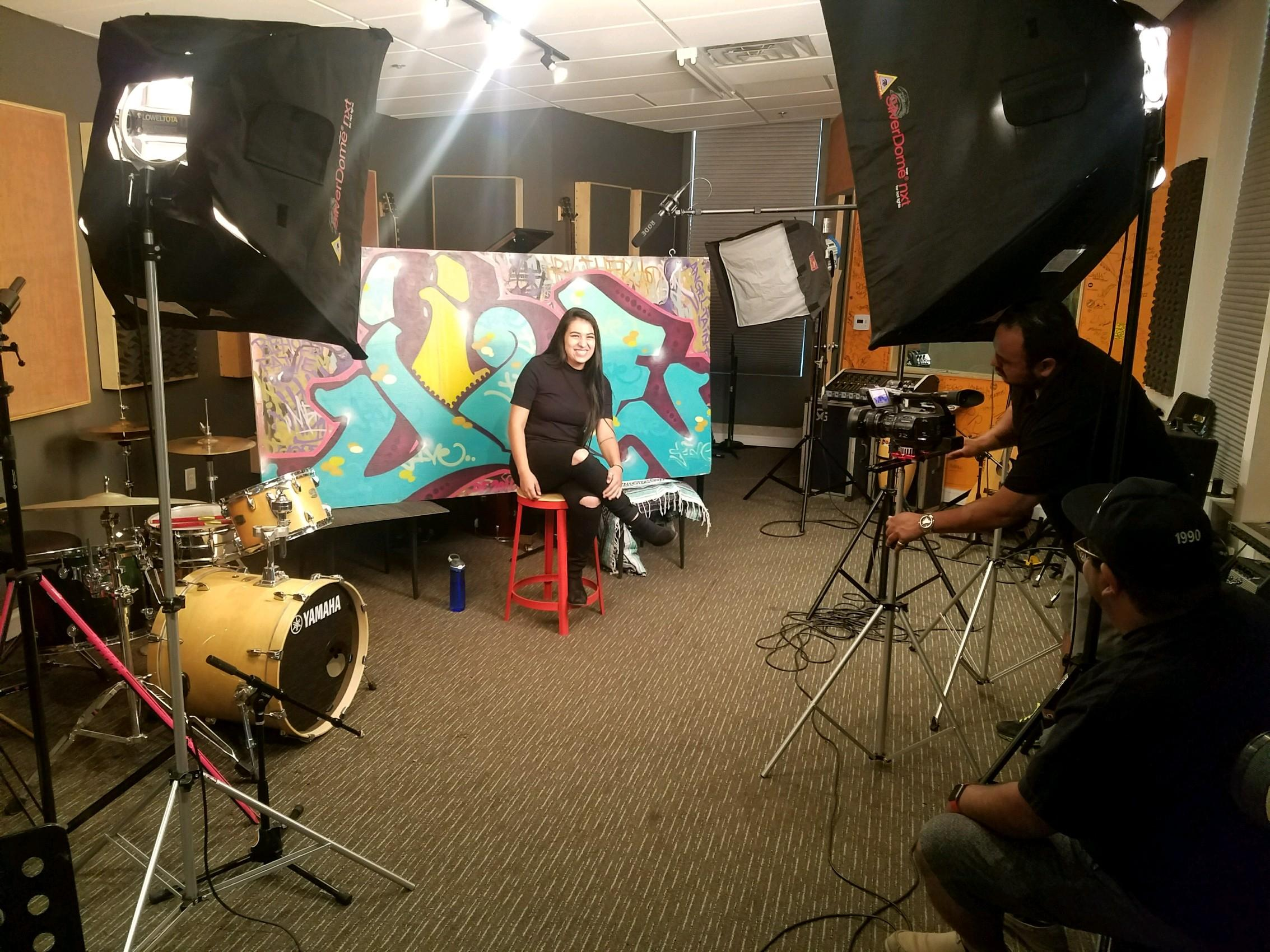 Video company Telideo shooting Youth On Record student inside the YOR studio